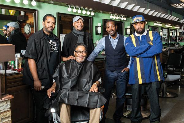 "Larry Lewis, Darius Wilmore, LaMarr Shields, Ashwin Ferguson, and Darius ""Brawl"" Shelton at Tight Image Barbershop in Mt. Vernon.Justin Tsucalas"