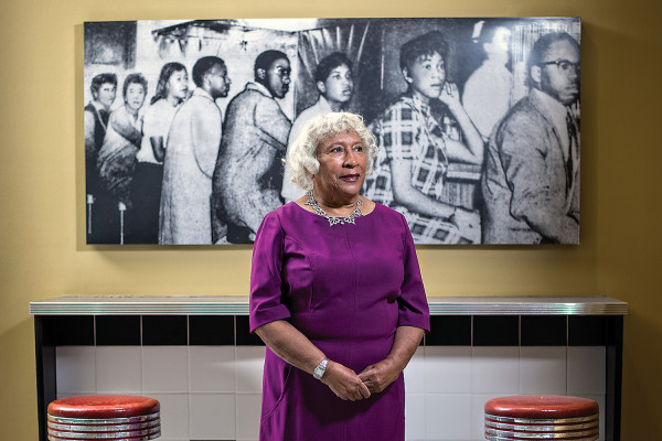 Helena Hicks, at Morgan, in front of a sit-in photo from Arundel Ice Cream.Photography by Christopher Myers