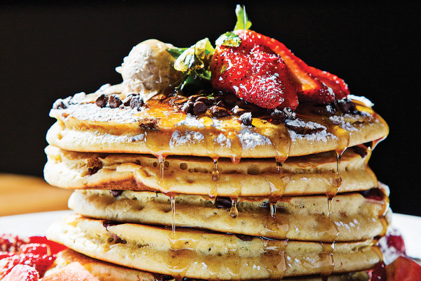 Chocolate-chip pancakes with strawberries.Photography by Scott Suchman