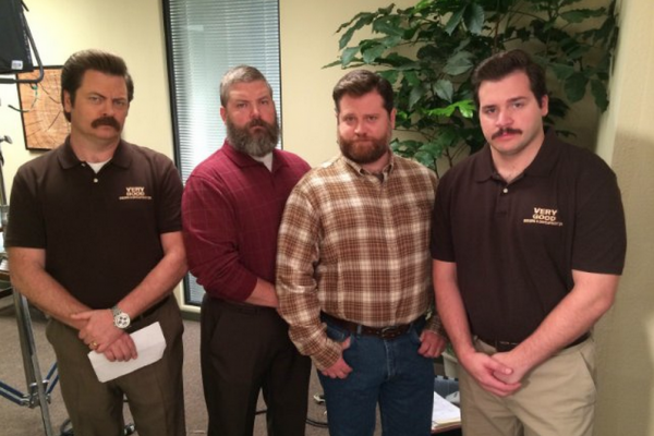 The Swanson brothers, from left: Nick Offerman, Matt Offerman, Herbert Russell, and Michael Strassner.Courtesy of IMDB