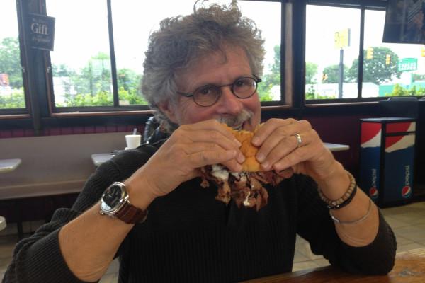 Raichlen downs a pit beef sandwich at Chaps.Lauren Cohen