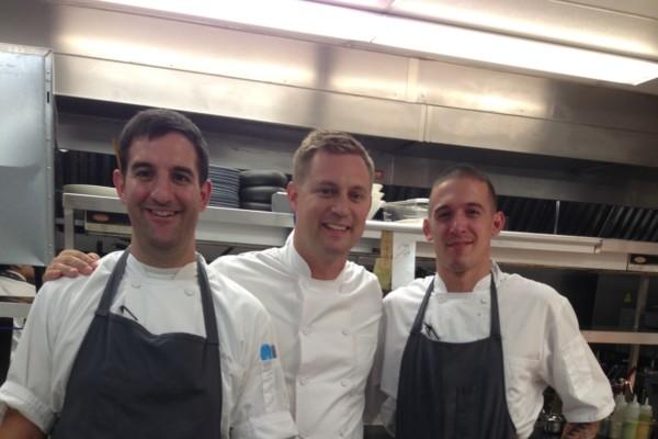 Aggio kitchen crew: chef de cuisine Dan Izzo, executive chef Bryan Voltaggio, and sous chef Vinnie Cortese.Photo by Jane Marion
