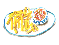 coleslaw and fries illustration